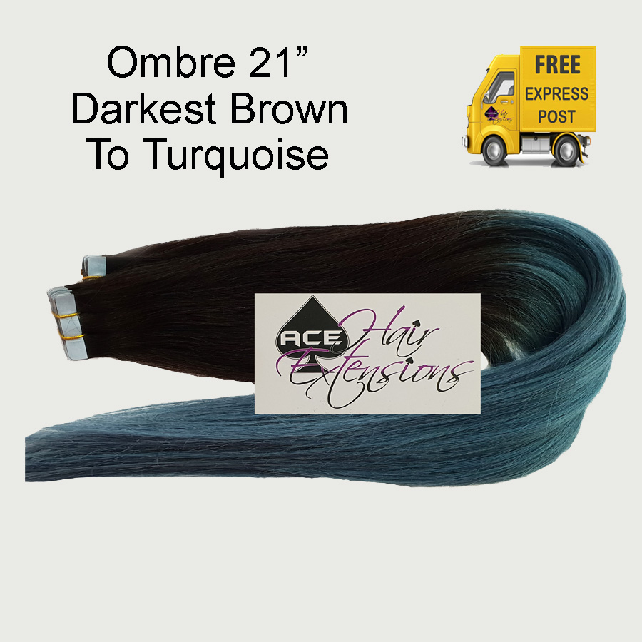 Tape 21″ Ombre #1B Off Black to Turquoise. Delivered Free Tomorrow if ordered by 2pm Mon-Thurs Auspost Express Zone