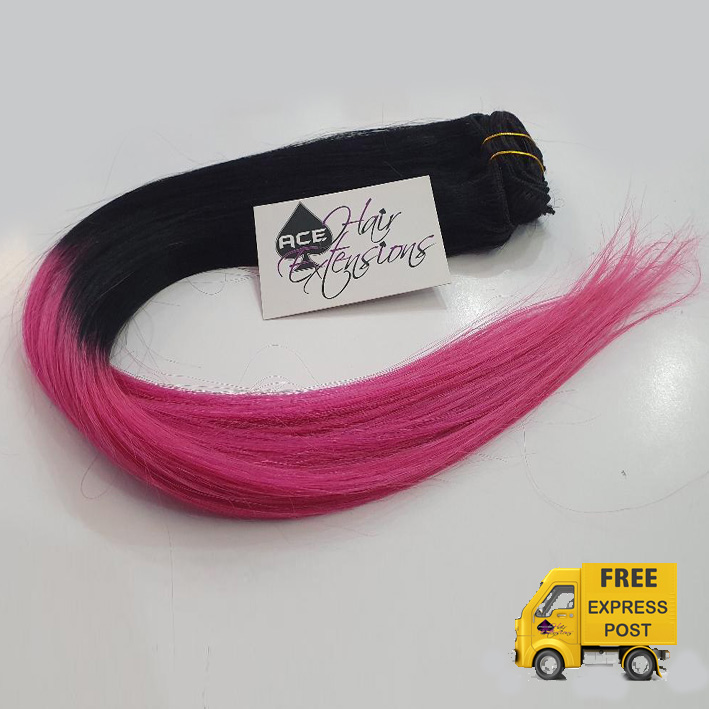 Clip in 22″ Ombre #1 Black to Pink 100 grams. Delivered Free Tomorrow if ordered by 2pm Mon-Thurs Auspost Express Zone