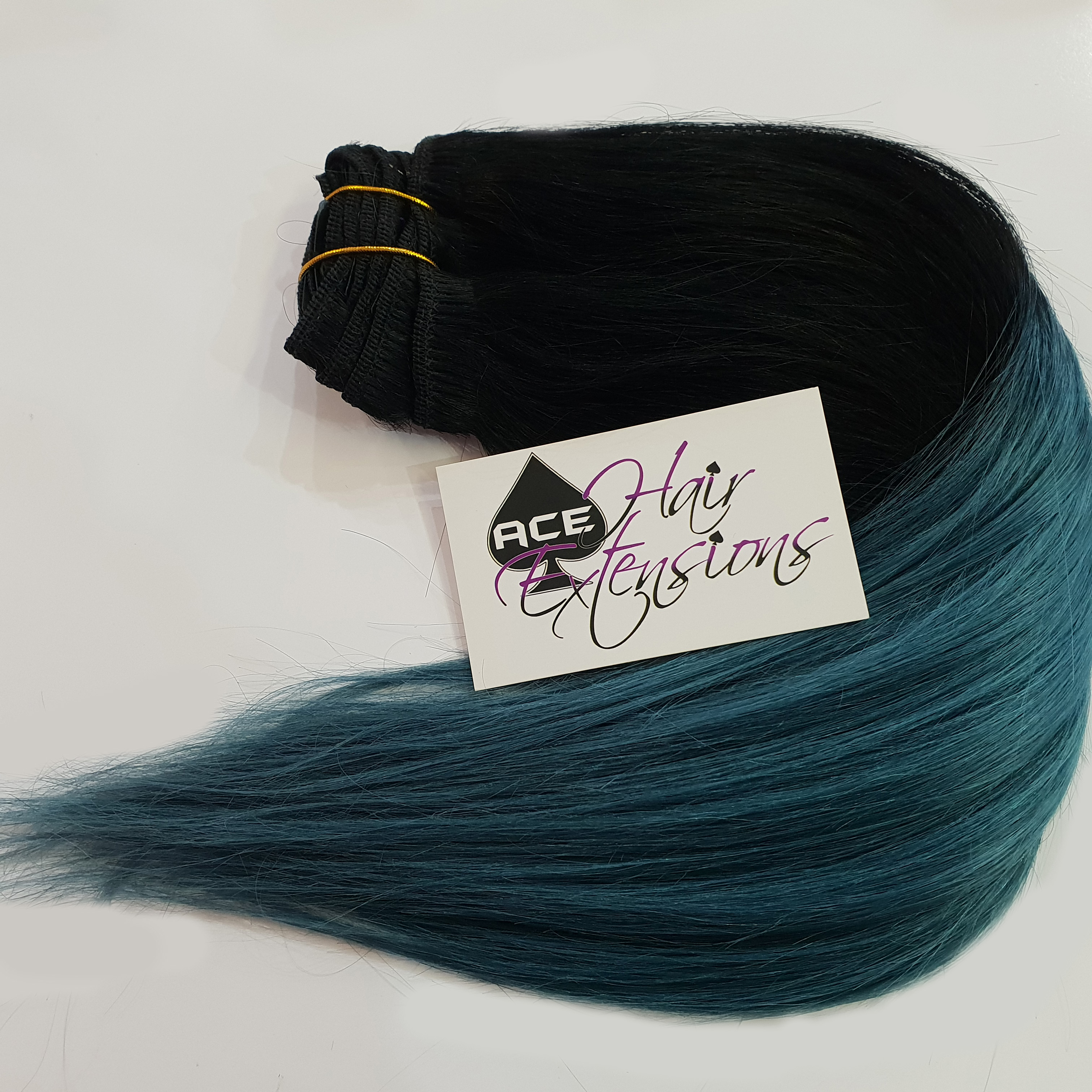 Clip in 17-18″ Ombre #1 Black to Turquoise 100 grams
