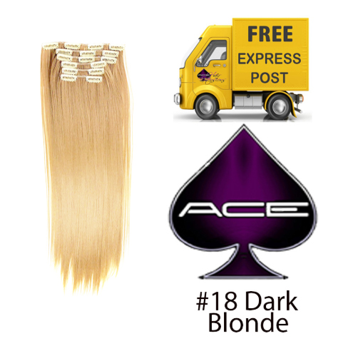 Clip in 17″ Hair Extensions #18 Dark Blonde 70 gram  Delivered Free Tomorrow if ordered by 2pm Mon-Thurs Auspost Express Zone