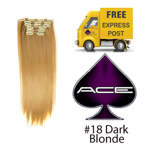 Clip in 17″ #18 Dark Blonde 70 gram  Delivered Free Tomorrow if ordered by 2pm Mon-Thurs Auspost Express Zone