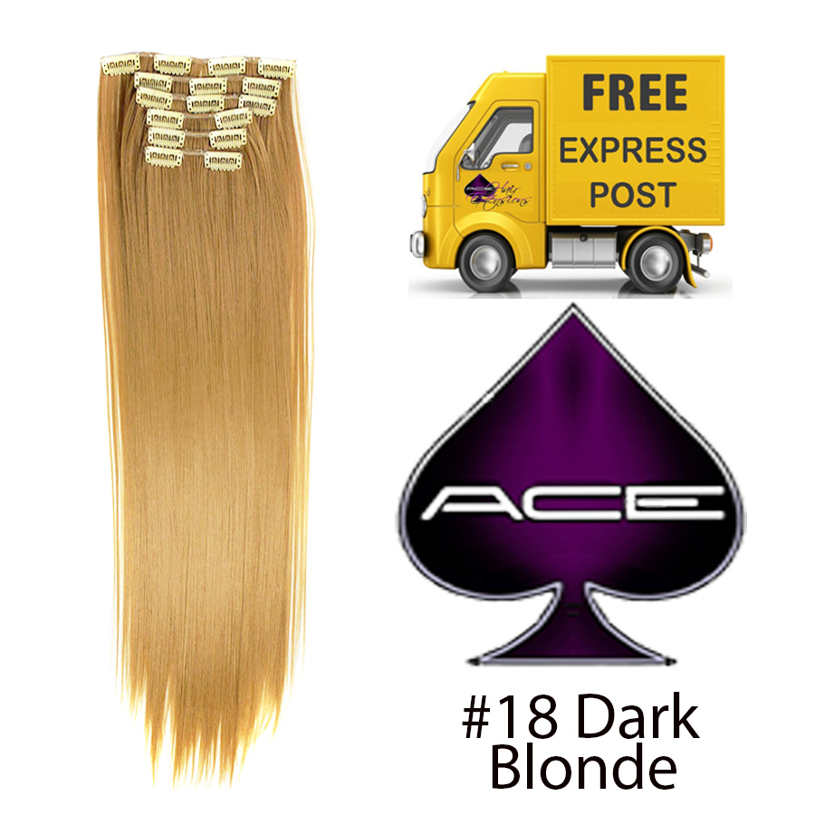 Clip in 20″ #18 Dark Blonde 100 gram  Delivered Free Tomorrow if ordered by 2pm Mon-Thurs Auspost Express Zone