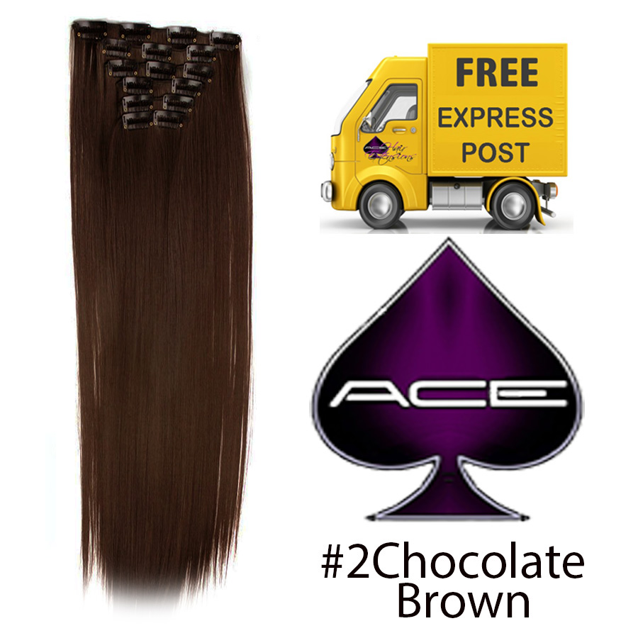 Clip in 20″ #2 Chocolate brown 100 gram  Delivered Free Tomorrow if ordered by 2pm Mon-Thurs Auspost Express Zone