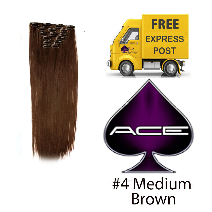 Clip in 17″ #4 Medium Brown 70 gram  Delivered Free Tomorrow if ordered by 2pm Mon-Thurs Auspost Express Zone