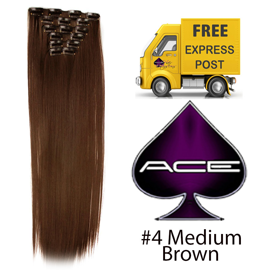 Clip in 20″ #4 medium Brown 100 gram  Delivered Free Tomorrow if ordered by 2pm Mon-Thurs Auspost Express Zone