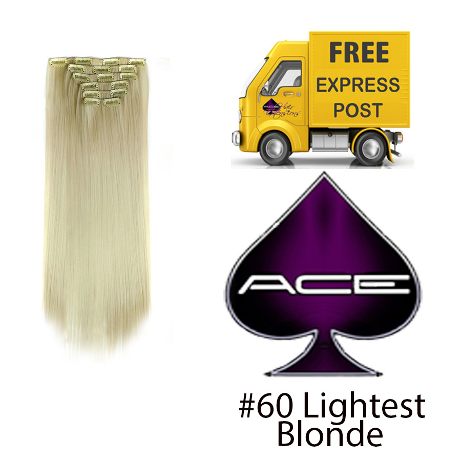 Clip in 17″ #60 Lightest Blonde 70 gram  Delivered Free Tomorrow if ordered by 4pm Mon-Thurs Auspost Express Zone