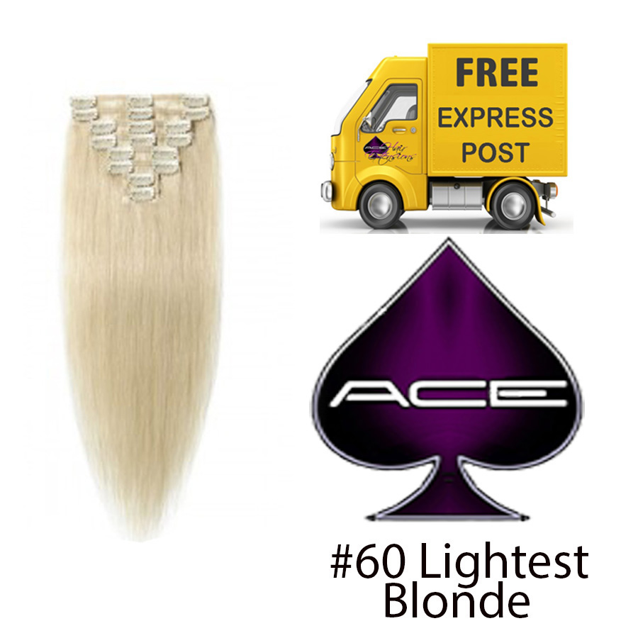 Clip in 17″ Hair extensions #60 Lightest Blonde 70 gram  Delivered Free Tomorrow if ordered by 2pm Mon-Thurs Auspost Express Zone