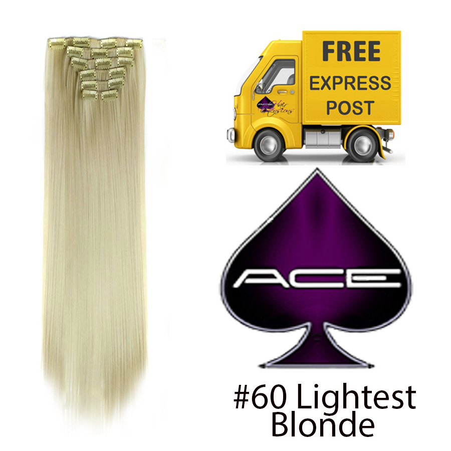 Clip in 23″ #60 Lightest Blonde 150 gram  Delivered Free Tomorrow if ordered by 2pm Mon-Thurs Auspost Express Zone