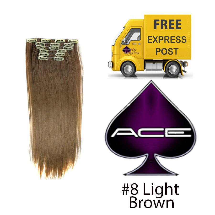 Clip in 17″ #8 Light Brown 70 gram  Delivered Free Tomorrow if ordered by 2pm Mon-Thurs Auspost Express Zone