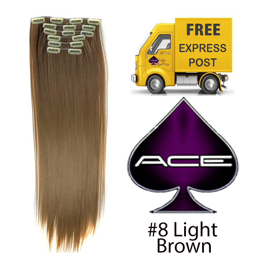 Clip in 20″ Hair extensions  #8 Light Brown 150 gram  Delivered Free Tomorrow if ordered by 2pm Mon-Thurs Auspost Express Zone