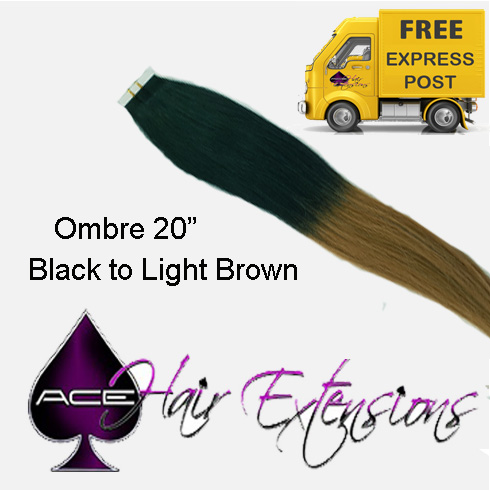 Tape 20″ Ombre #1 Black to Light Brown. Delivered Free Tomorrow if ordered by 2pm Mon-Thurs Auspost Express Zone